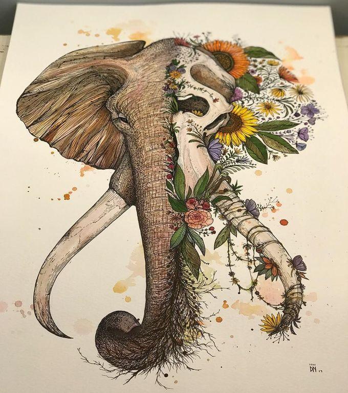 由迪诺Nemec的大象例证