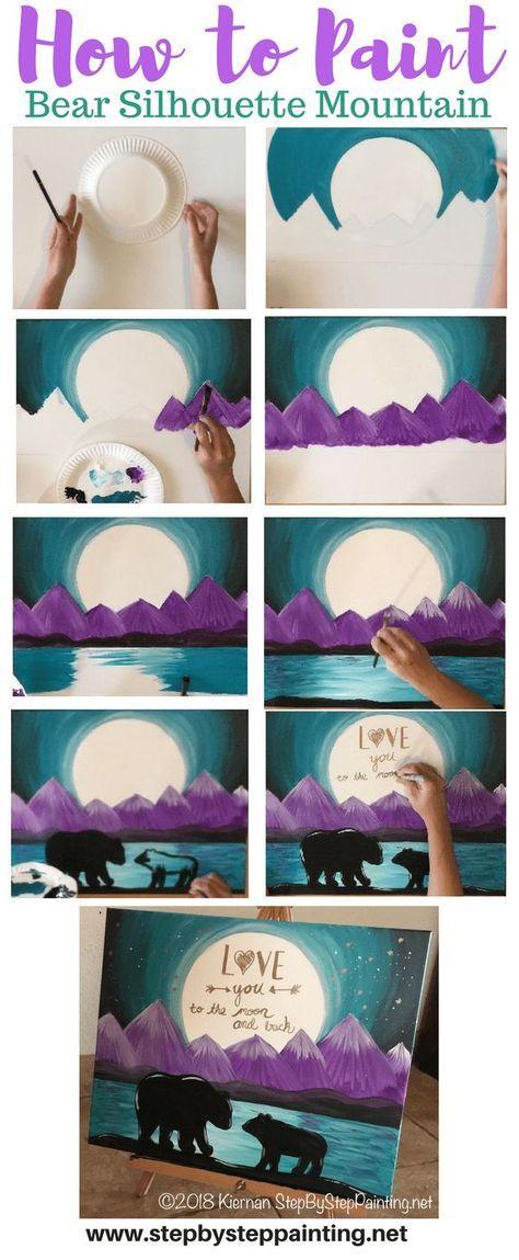 学习如何绘制紫色山脉的熊剪影山水画和月亮上的可选报价!这一步一步教程是简单,轻松和乐趣的所有年龄段的初学者!