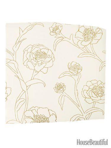 Peonies Peel-and-Stick壁纸。 housebeautiful.com。 #peonies #wallpaper