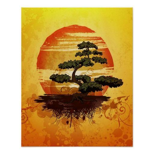 一棵日本盆景树的美好的例证反对五颜六色的日落的。非常宁静祥和的形象。