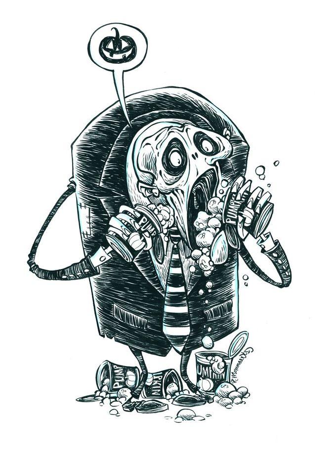 Inktober Zombie Punkin' Lover #25 by RobbVision.deviantart.com on @deviantART