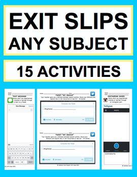 使用社交媒体和创意(音乐/艺术)为乐趣EXIT SLIPS:任何年龄:英语 - 数学 - 科学 - 社会研究及更多!不要浪费时间为每个班级创建退出单(检查理解)。该产品包含15个出口通行证