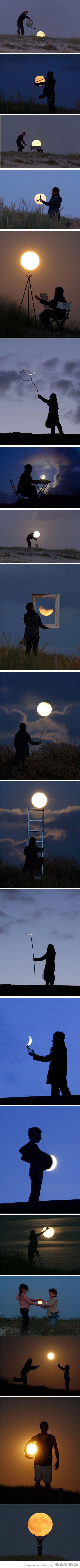 与月亮玩得开心......