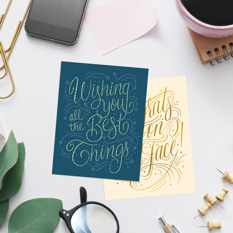 Up your stationery game and send those good vibes and well-wishes to your loved ones with this starry, hand-lettered card from Katie Made That.