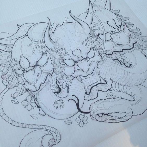 Work in progress #oni #hannya #mask #snake #tattoo #tattoofightclub #japanesetattoos #orientaltattoos #asiantattoos #potn #potd #artist_community #artwork #myart #micron #copic #prismacolor #draw #sketch #vancity #vancouver #instaart #