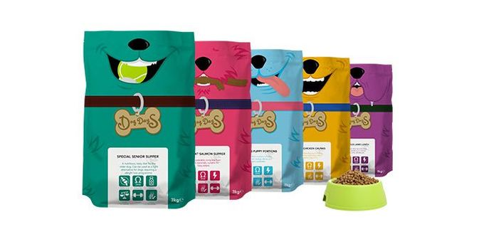 Dog Days #packaging #colorful #dogs #food #simple