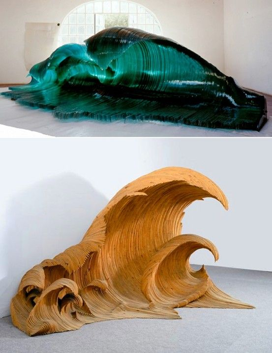 Ocean Wave Glass & Wood Sculptures by Mario Ceroli