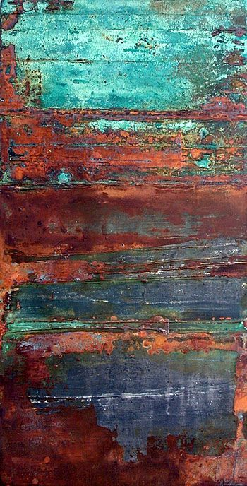 Rust and turquoise. I love the look of painted, rusted, metal.