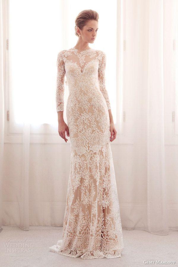http://www.weddinginspirasi.com/2014/03/14/gemy-maalouf-bridal-2014-wedding-dresses/ gemy maalouf #bridal 2014长袖蕾丝#wedding连衣裙彩色底座#weddings #weddingdress