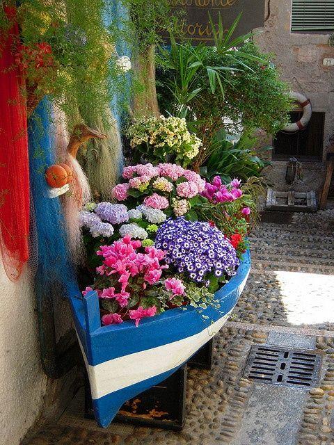 小船的庭院,Isola Bella,马焦雷湖,意大利