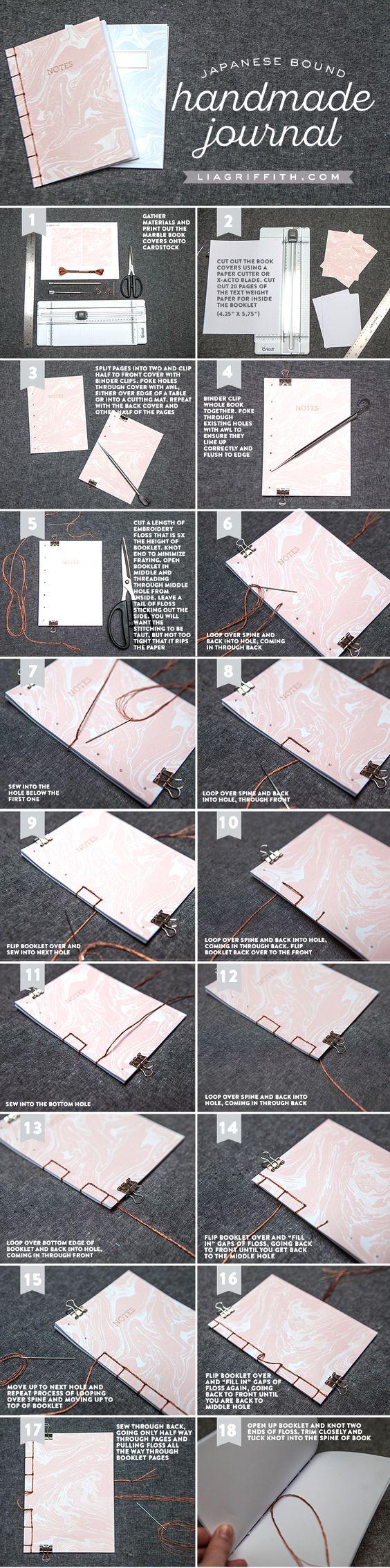 按照我们简单的分步教程来绑定手工日记。下载我们漂亮的大理石封面,并将日记放入您的钱包中轻松记笔记!