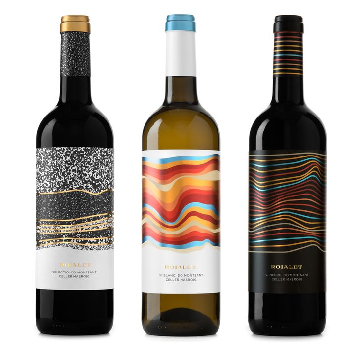 Wine collection: two red wines (young and barrel) and one white wine. For the label design we were inspired by the name of the product itself (Rojalet sounds similar to red in catalan). This refers to the characteristic red soil where the vines grow. Therefore, the same name leads us to think about the earth, and one of the representations of soil, are the layers. The layers tell the story of the soil, its composition and thus the character of the grape. In the labels, more than representing...