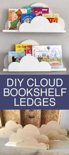 DIY Cloud Bookshelf Ledges,非常适合儿童卧室,幼儿园或游戏室装饰!易于制作Cloud Bookshelf Ledges。适合抱着你的孩子们的书!