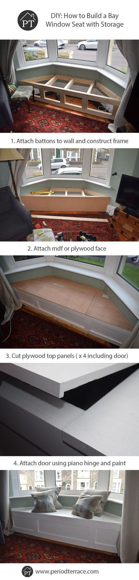 DIY贴子如何构建一个带有存储的飘窗座椅,可以完美融入家居时代,并有一个带有充足储物空间的升降门。