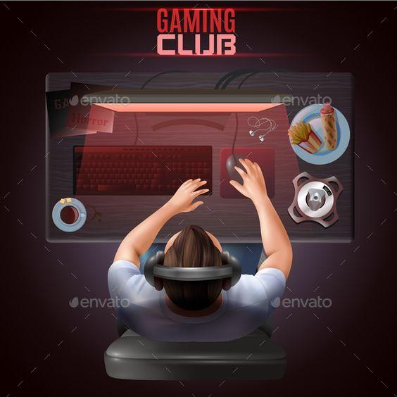 使用在他的计算机顶视图现实传染媒介例证的耳机的字符游戏玩家