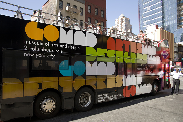 MAD (museum of arts and design) identity – promotional bus - Michael Bierut