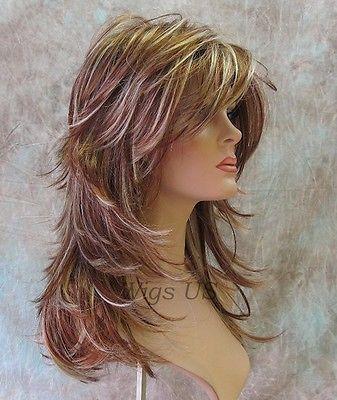Long Wig Choppy Layers Lots of Motion 3 tone Auburn Strawberry Blond Womens wigs