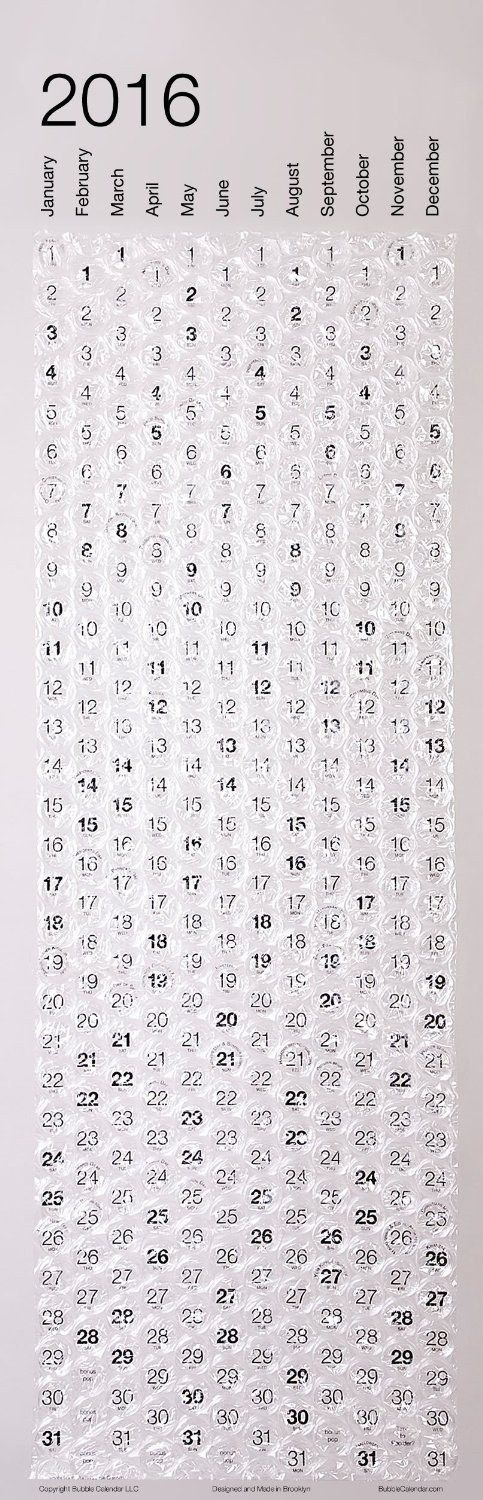 Get this bubble wrap calendar and make every day a little better PD