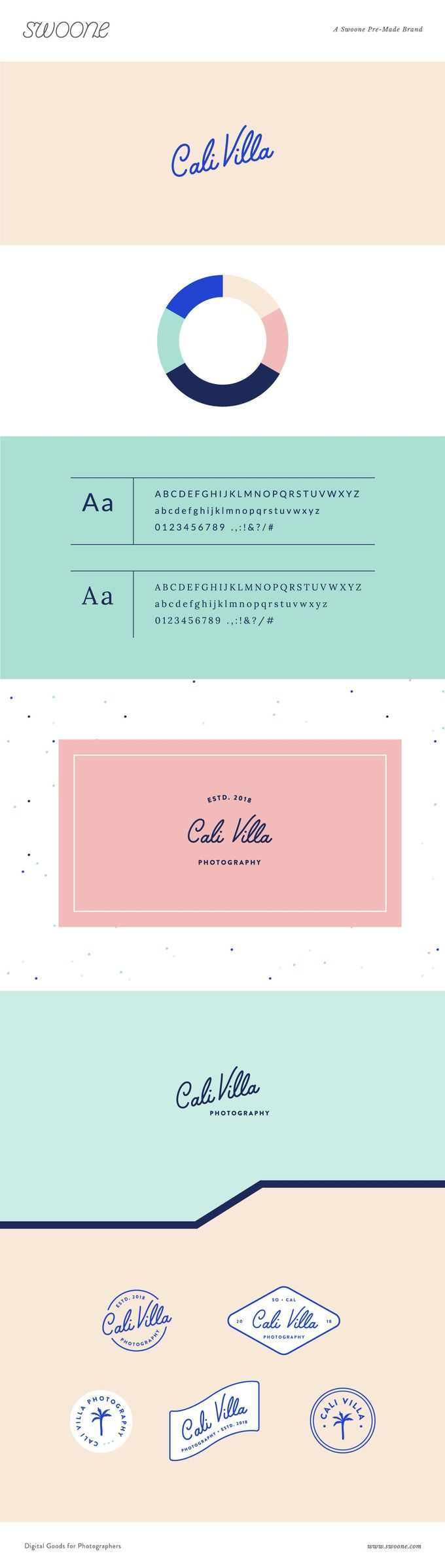 Sprinkle some personality into your brand with Cali Villa. Featuring a monoline script, lively color palette, and fun coastal illustrations, this welcoming brand would be great for any photographer with a fun coastal style and personality   #premadebrands #premadebrandsforphotographers #forphotographers #forphotogs #templatesforphotographers #brand #typography #modern #branding #logo #logodesign #logoforphotographer #photographers #california #sanserif #monoline #monolinescript #coastal #coastal