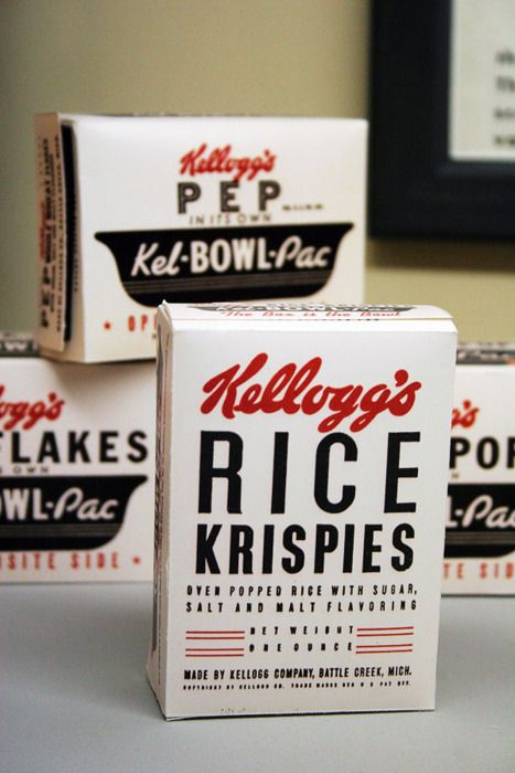 Back, white and red: vintage Kellogg's Rice Krispies cereal boxes.