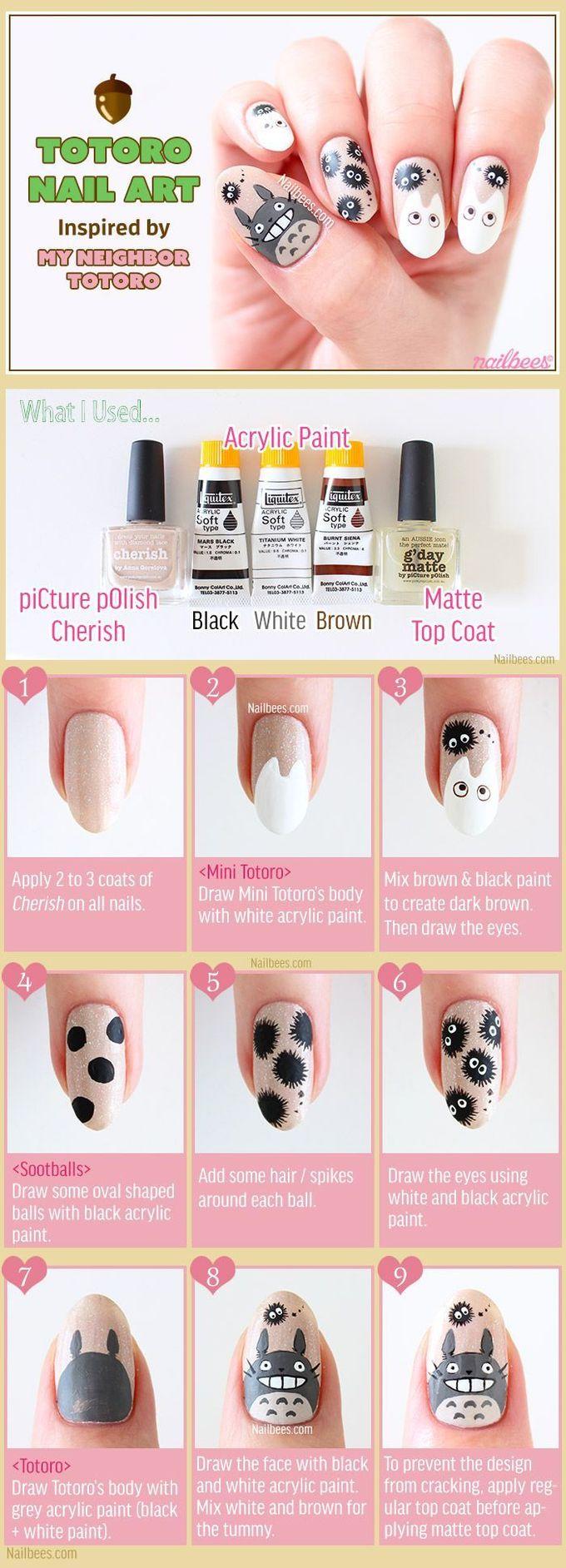 龙猫指甲艺术教程