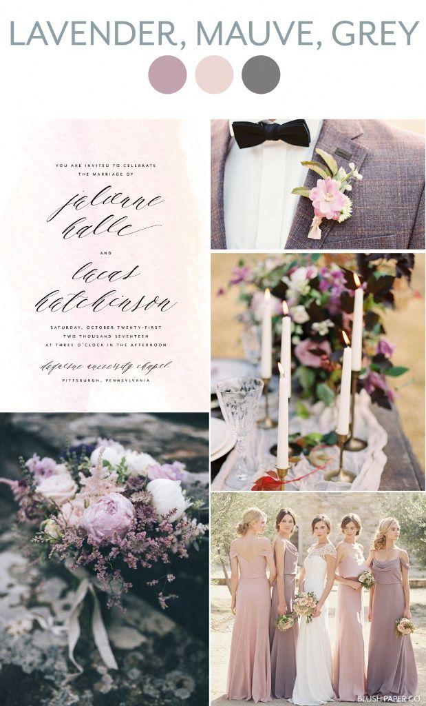薰衣草,紫红色和灰色的婚礼灵感|腮红纸公司