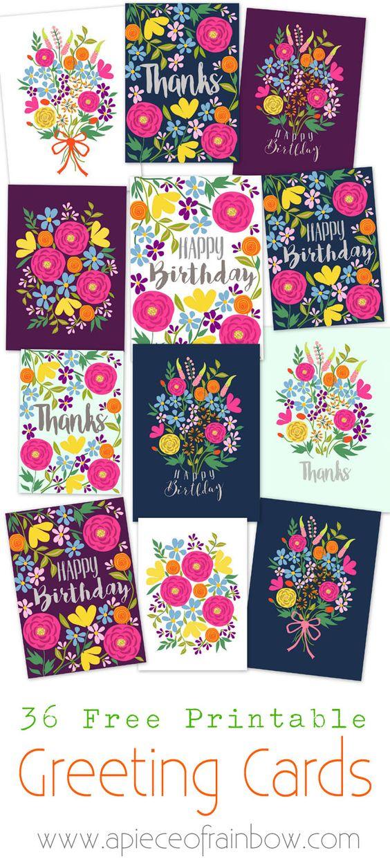 一套36张光彩鲜花可打印贺卡 - 免费下载模板,制作自己美丽的生日贺卡,感谢贺卡和空白贺卡!