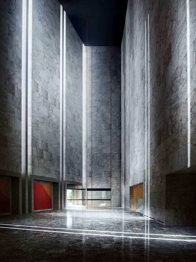 The lobby of the National Bank of Denmark, Copenhagen, by Arne Jacobsen 1965–70. The best space we have in Copenhagen.