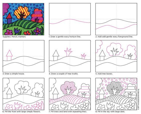 """这个受欢迎的波普艺术景观教程现在可用打印格式。点击下方以访问该文件,并订阅我的超值电子邮件。材料•波普艺术景观教程(点击下载)•绘图或标记纸•黑色尖锐,凿尖•标记方向预览:打印网格或折叠纸以获得居中的线条。 1.学生用铅笔绘制波普艺术��景。来自""""简明英汉词典""""图画中有一个厚厚的黑色骗子。 3.景观形状充满了鲜艳的彩色标记。附:本教程包括第2页的整页完成样本,用于教室展示。"""