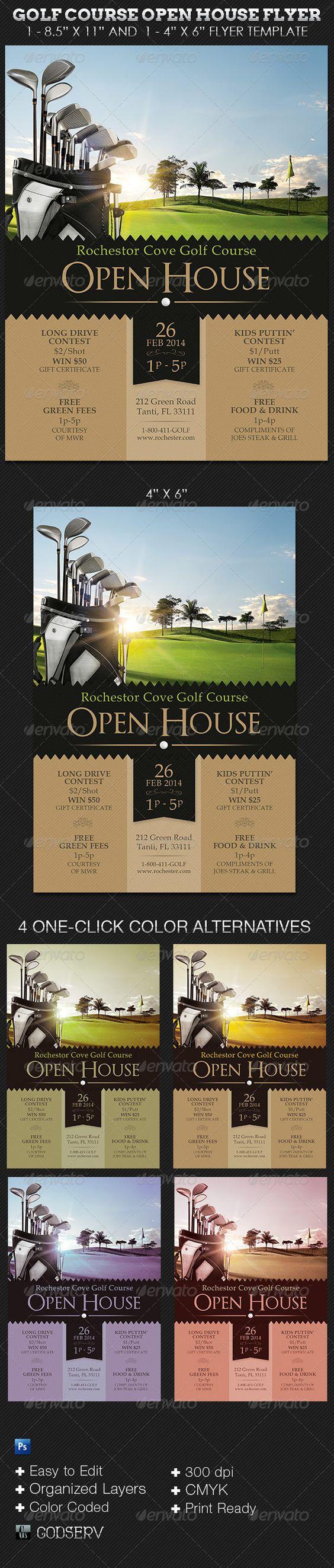 """高尔夫球场Open House Flyer Templates适用于高尔夫俱乐部或任何希望采用现代风格的复古主题来赞美其品牌的任何体育俱乐部。用于开放日,高尔夫球派对或一般活动通知。在这个包中,你会发现1  -  8.5""""x11""""和1  -  4""""x6""""Photoshop高尔夫模板文件,其中包含4种颜色选项。模板易于编辑,所有图层都有组织和颜���编码。智能对象用于某些资产以使编辑更容易。模板文件为打印就绪(文件分辨率为300 dpi,颜色模式为CMYK,并且包含最小0.125流血)。您所需要做的就是""""编辑,保存,打印""""包含的内容1  -  8.5""""x11""""Photoshop高尔夫球场Open House传单模板1  -  4""""x6""""Photoshop Gol"""