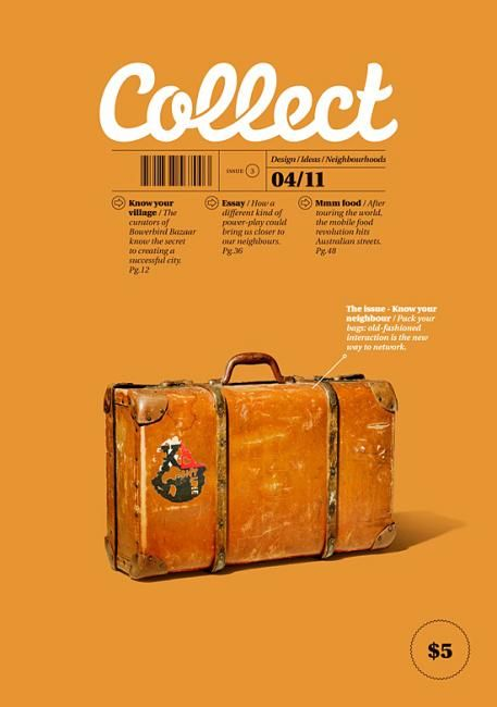 Collect Magazine Cover - Very spacious composition and also reads well; stand out title, followed by supporting text as it should be, then image which pairs well with the background.