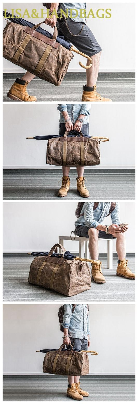 Handmade Waxed Canvas Duffle Bag Travel Bag Holdall Luggage Bag Canvas Messenger MBL06