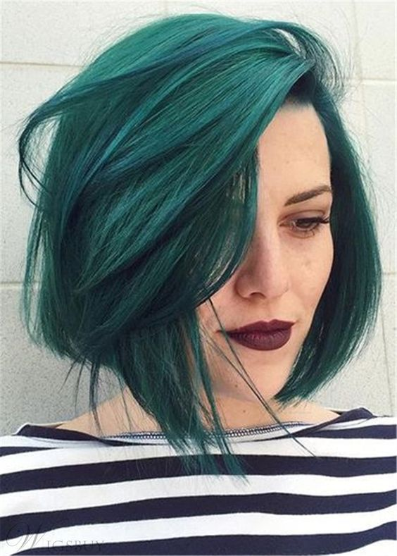 GreenColor Bob Style Natural Straight Synthetic Hair Capless Wig 10 Inches