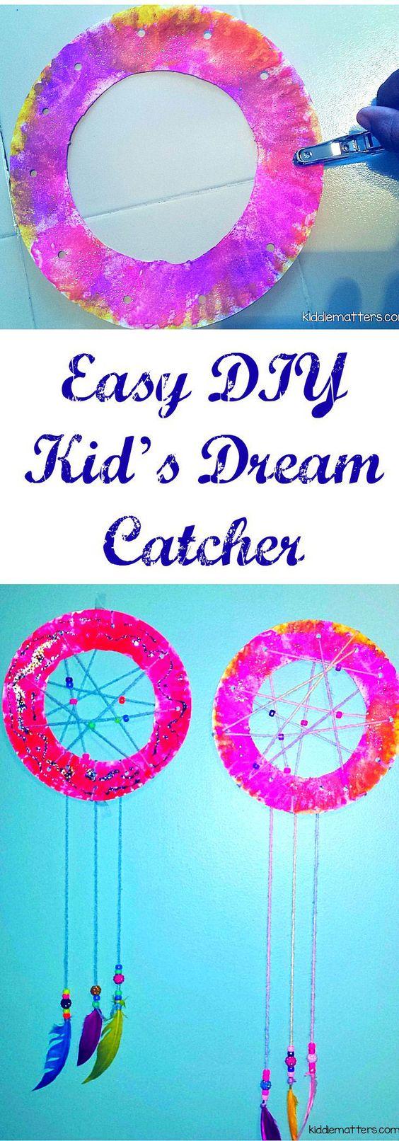 轻松DIY梦想捕手与孩子们。适合那些做噩梦和晚上睡不着觉的孩子。