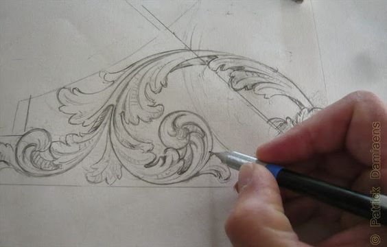ORNAMENTAL WOODCARVER Patrick Damiaens: 17th Century Style Wood carving | Acanthus leaf design carved in walnut | North German Baroque | Baroque Cabinet from DANZIG