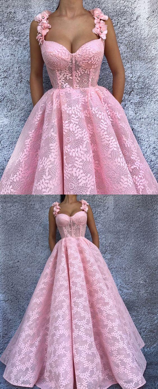 舞会礼服意粉肩带粉红色花边舞会礼服鲜花