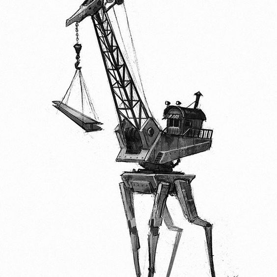 Tonight's robot, no. 26! #marchofrobots #mech #drawing #draw #animals #giraffe #crane #instagood #instaart #art #conceptart #robot #illustration #digitalart