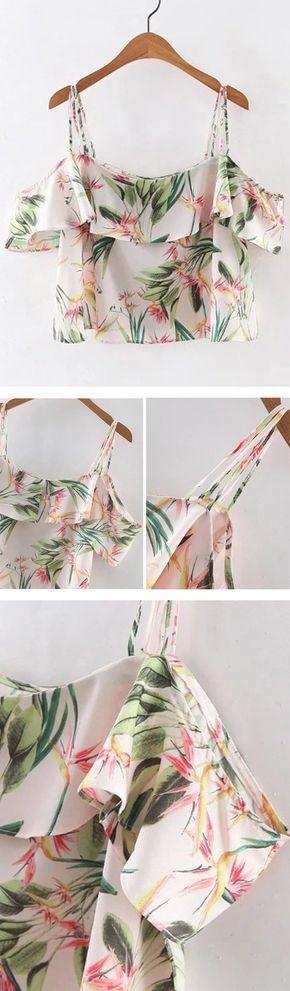 多色花卉印花荷叶边意粉皮带女衬衫
