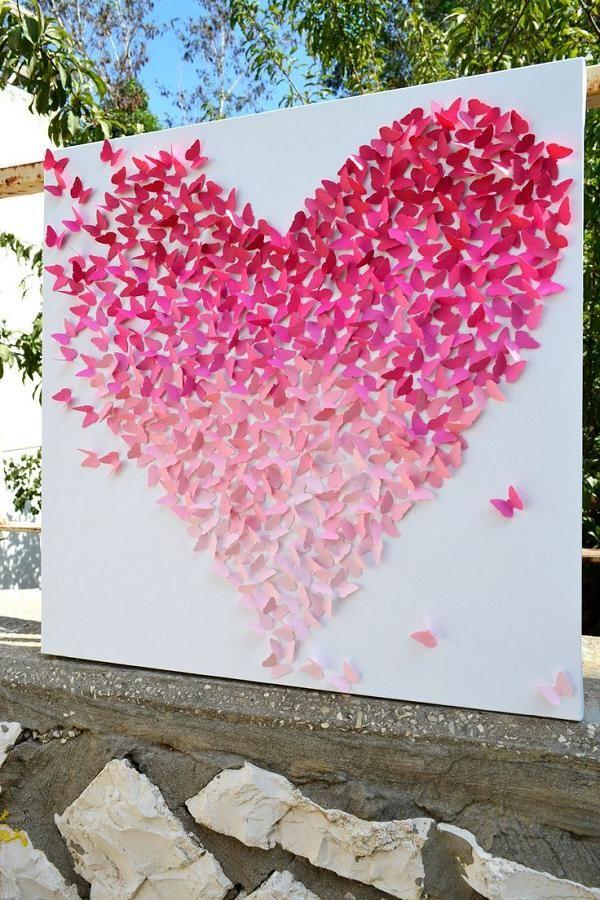 粉红色的Ombre蝴蝶心婚礼背景/ http://www.deerpearlflowers.com/40-romantic-pink-wedding-ideas-for-springsummer-wedding/