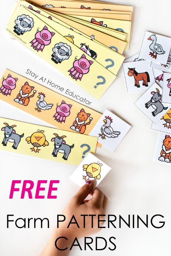 快速和简单的农场数学活动完美的学前农场主题。包括免费打印的农场动物图案卡。