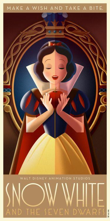 Disney Art Deco Poster: Snow White and the Seven Dwarves - David G. Ferrero