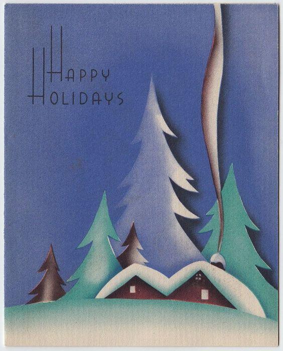 老式贺卡圣诞艺术装饰景观房子雪烟烟囱e352