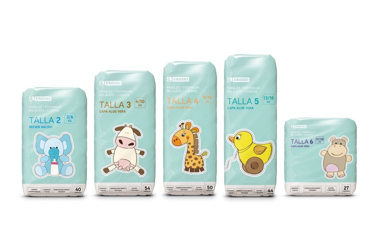 Eroski Nappies on Packaging of the World