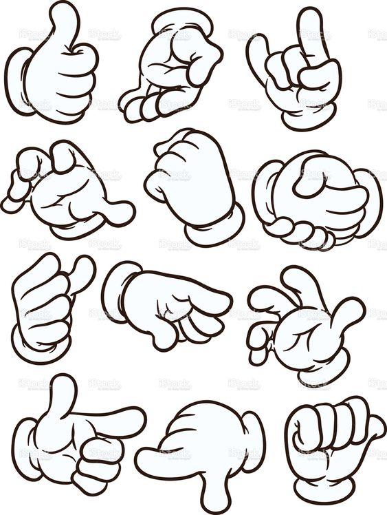 卡通手做不同的手势。矢量剪辑艺术插画与简单的渐变。每个在一个单独的图层上