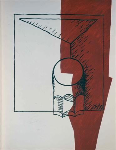Lanterne et verre à côtes, 1955 Page 7 of Poem of the right angel Lithography in 3 colours executed in Mourlot Workshop after an original collage by Le Corbusier Dimensions: 0,407 m x 0,324 m Tériade Publisher Paris. Fondation Le Corbusier