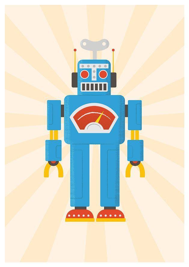 Nursery print, kids art, retro robot, robot art, robot illustration, pop art