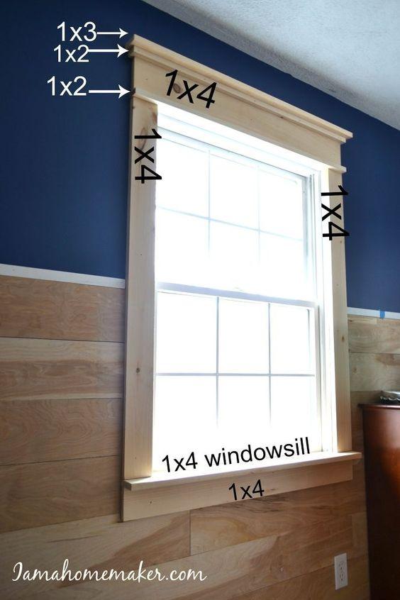看看我如何将我疲惫的旧窗户变成有趣的农家风格,网址为http://www.iamahomemaker.com/farmhouse-window-trim/
