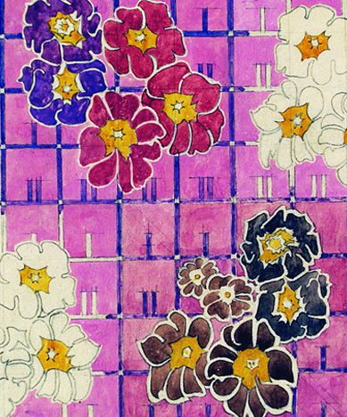 Textile Design, Charles Rennie Mackintosh, Scottish, 1868 -1928 Mackintosh was an Architect, Designer, Watercolourist and Artist. He was prominent in the Arts and Crafts movement, and also the main representative of Art Nouveau in the United Kingdom. He also had a considerable influence on European design. He was born in Glasgow (where one can see fabulous examples of his architecture and design) and he died in London.