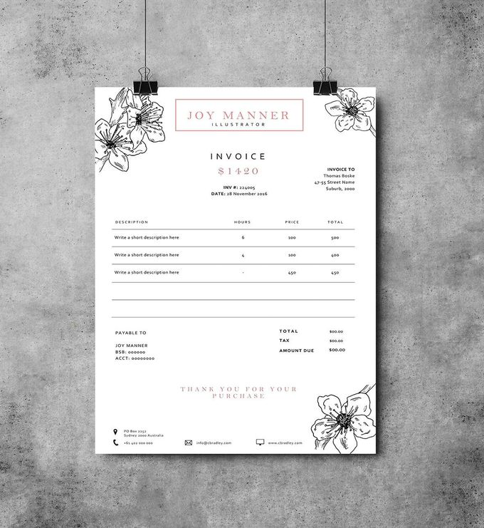 Invoice template | Receipt template | Invoice design by EmandCoDesign on Etsy