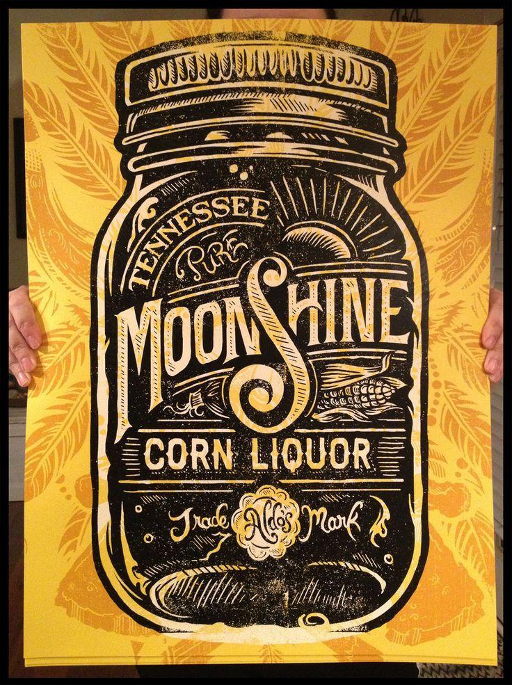 Aldo的田纳西月光玉米酒 - 丝网印刷海报